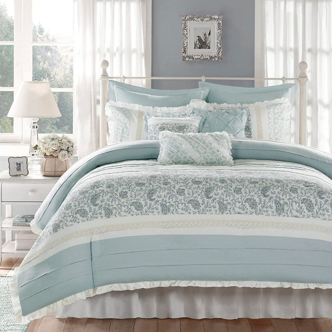 Madison Park Dawn Duvet Cover Queen Size - Aqua