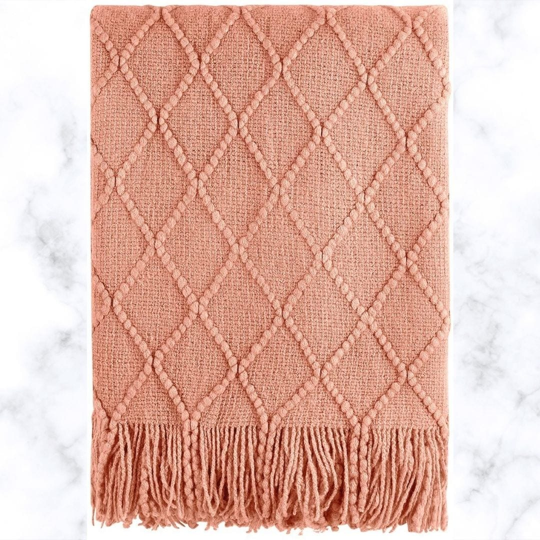 Bourina Coral Throw Blanket Textured Solid Soft Sofa Couch Decorative Knit Blanket, 50