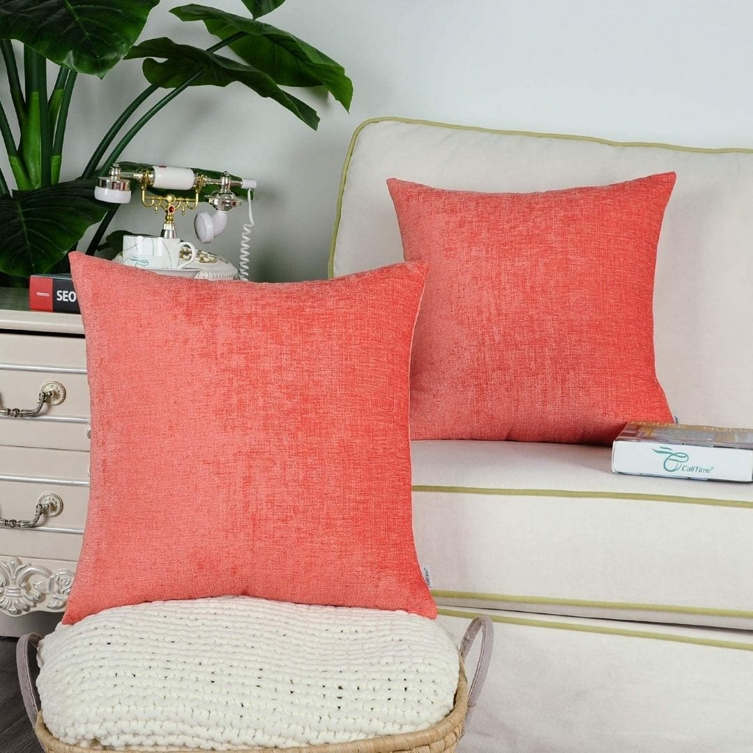 CaliTime Pack of 2 Cozy Throw Pillow Covers 18 X 18 Inches Living Coral