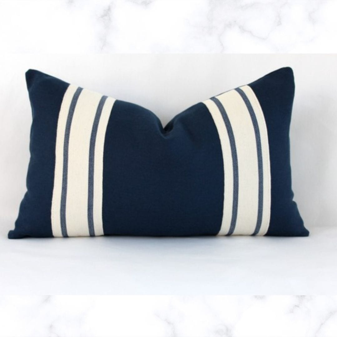 Striped Lumbar Linen Pillow Cover, Navy Blue, 12