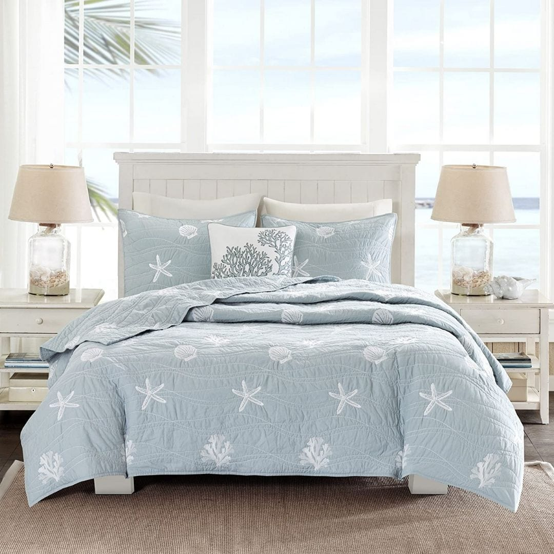 Harbor House Seaside 4 Piece Coverlet Set || Dusty Blue