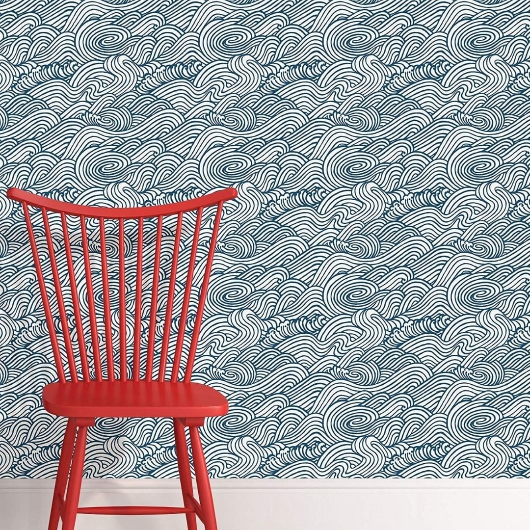 NuWallpaper Navy Saybrook Peel & Stick