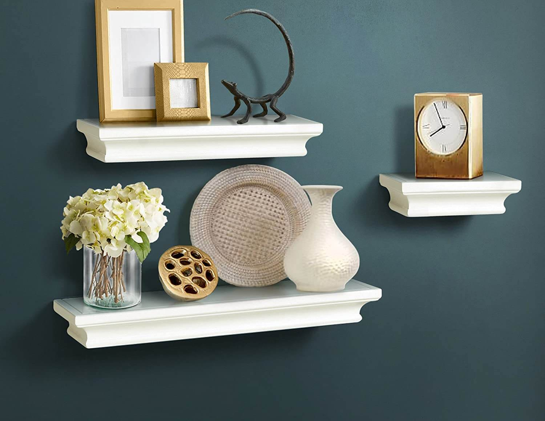 AHDECOR Floating Shelves Ledge Shelf White, 4 Inches Deep, Set of 3